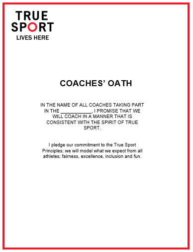 True Sport Oaths for Coaches