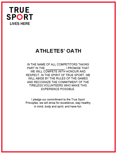 True Sport Oaths for Athletes