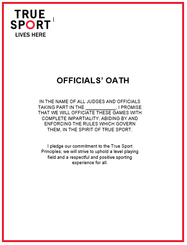 True Sport Oaths for Officials