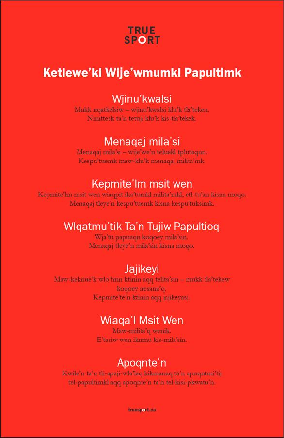 True Sport Principles Poster - Mikmaw