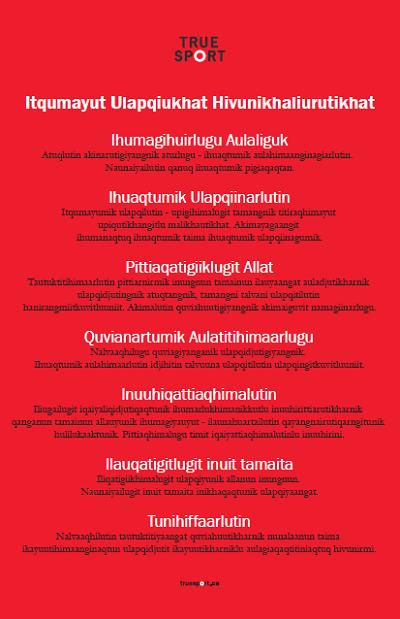 Affiche Principes Sport pur – en inuktitut